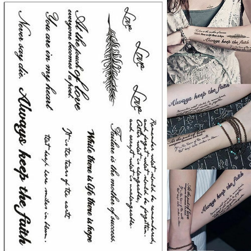 Black Removable Temporary Tattoo English Words Quotes Body Art Tattoos Sticker For Sale Online Ebay