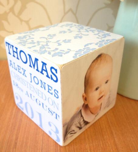 Fait main baptême personnalisé en bois cadre photo Cube Cadeau Cadeau
