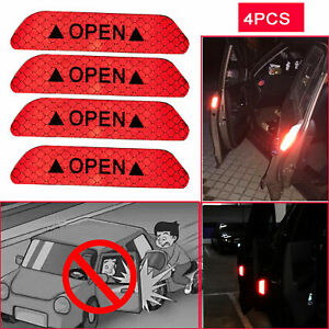 4X Super Car Door Open Sticker Reflective Tape Safety Warning Decal Red Hot
