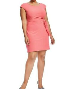 Gilli-Front-Tie-Coral-Jersey-Sheath-Dress-Size-1X