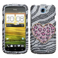 T-mobile Htc One S Crystal Diamond Bling Hard Case Phone Cover Playful Leopard