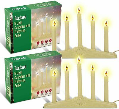 Christmas Candolier Window Candles With Flickering Bulbs 5 Lights 2 Pack 854395007591 Ebay
