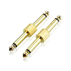 6-35mm-1-4-034-CHITARRA-EFFETTO-PEDALE-accoppiatori-Spina-su-Spina-Adattatore-Dorato