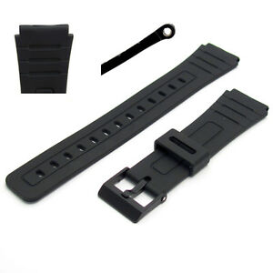 Replacement-Watch-Band-18mm-Black-Resin-to-fit-Casio-F91-F105-F94