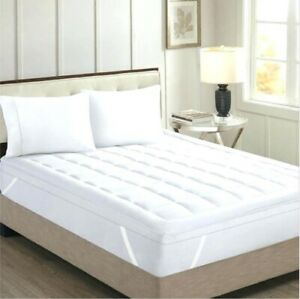 Ideal-White-Solid-Mattress-Pad-Egyptian-Cotton-UK-Double-Size-Select-Deep-Pocket