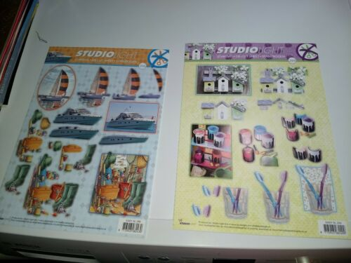 A6152 2X 3D SHEETS  BOAT//BIRDHOUSE FOR MAKING CARDS NO SCISSORS NEED NEW