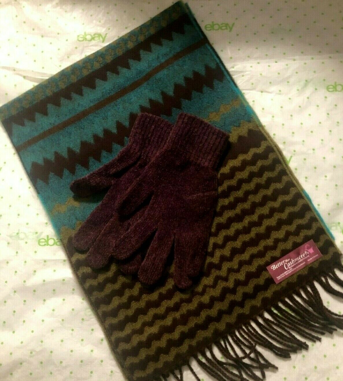 Better Than Cashmere? Scarf Glove Set Purple Brown Teal Gold