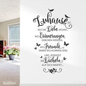 wandtattoo spruch zuhause ist wo die liebe wohnt zitat wandsticker deko ws10 ebay. Black Bedroom Furniture Sets. Home Design Ideas