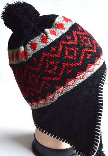 NEW Mens Womens Unisex Black grey diamond patterned nepal hat winter christmas