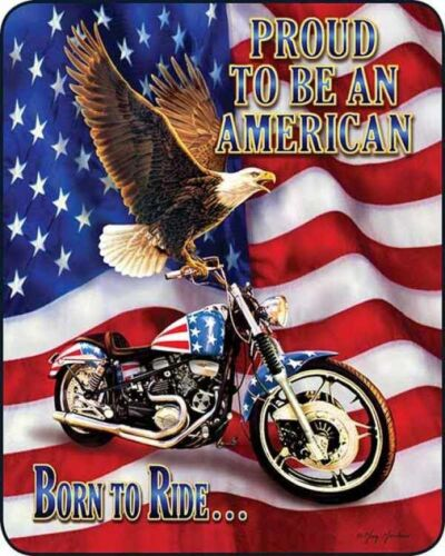 """AMERICAN FLAG BORN TO RIDE PROUD QUEEN 79/"""" X 96/"""" SOFT MEDIUM WEIGHT BED BLANKET"""