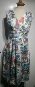 Joules-White-Blue-Pink-Cream-Boat-Print-Sleeveless-Lined-Cotton-Dress-Size-10