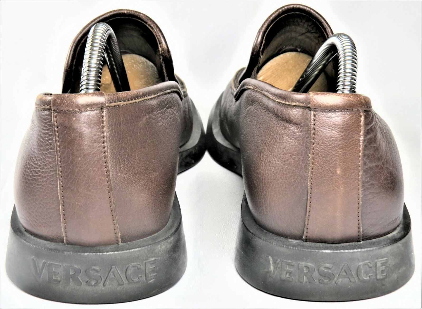 Gianni Versace Mens Dress shoes Brown 10.5 Leather Loafer Slip-on Medusa