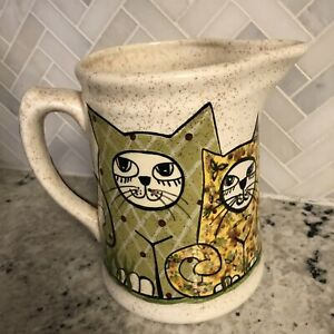 """Vintage Mid-Century Art Pottery CAT PITCHER 7"""" Tall Hand painted Eclectic RARE"""
