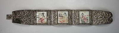 Vintage Chinese Silver Filigree Link Bracelet 3 Panel Carved Painted Plaques