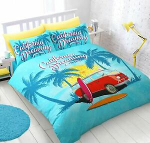 Planches De Surf Camper Van Turquoise Double Duvet Cover Creme Drap Housse Ebay