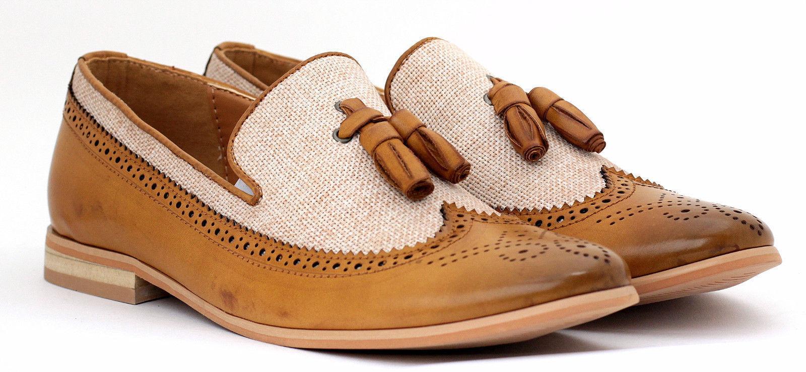 Hecho a mano para hombres Cuero Genuino De Bronceado & Tela Zapatos Oxford Brogue punta del ala Slip Ons