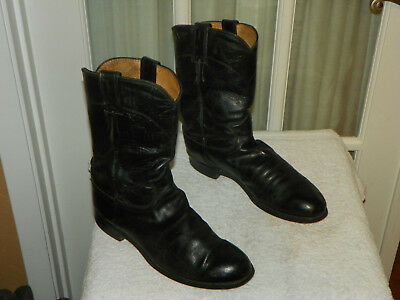 Justin Roper Black Leather Cowboy Western Boots Style 3133 Men's Size 7.5 D USA | eBay