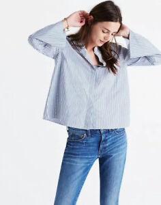 Madewell-Bell-Sleeve-Button-Up-Shirt-Top-Blouse-Blue-Stripe-Boho-Women-Sz-L