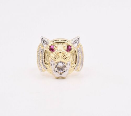 Men/'s Tiger Head Ring Ruby Eyes /& CZ Real Solid 10K Yellow White Gold Size 10