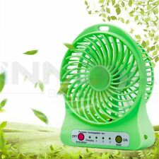 USB Portable LED Mini Fan Air Cooler 2400mAh Rechargeable Lithium Battery Green