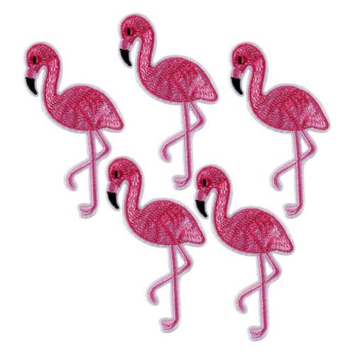 10PCS Flamingo Patch Embroidered Sew Iron On Bag Fabric Applique DIY CraftZP