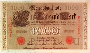 1914 Germany  Empire  Kaiser WW1 5 Mark Banknote