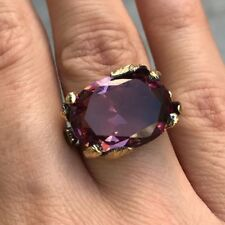 925 Sterling Silver and Gold Plated Turkish Alexandrite Ladies Ring Size 6-10