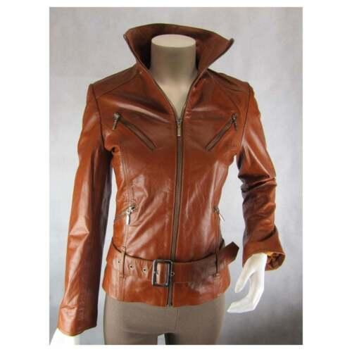 pour tendance cuir vélo brun ajustée Veste et clair serrée verni de femmes en ajustée twSx1