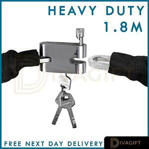 1.8M Metal Chain Lock Bicycle Heavy Duty Security Padlock Motorcycle Motorbike