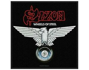 OFFICIAL-LICENSED-SAXON-WHEELS-OF-STEEL-WOVEN-PATCH-METAL-ROCK