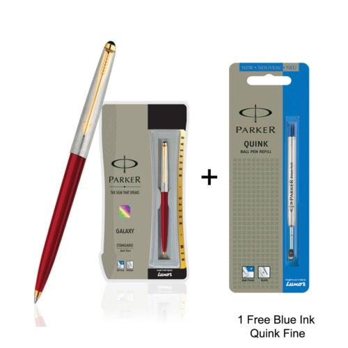 1 Durchfluss Fein Blau Tinte Parker Galaxy Goldrand Kugelschreiber Rot Körper