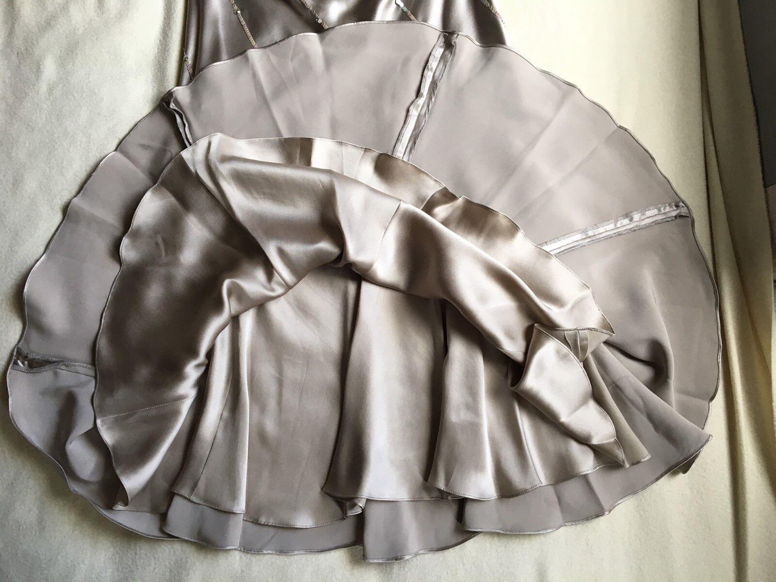 JENNY JENNY JENNY Packham taupe colore sbieco gonna in raso di seta con paillettes & Cristalli 9efee3