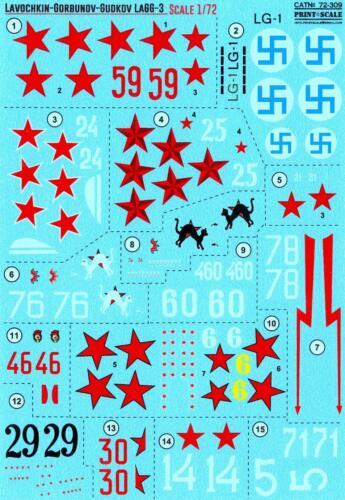 Print Scale Decals 1//72 LAVOCHKIN GORBUNOV GUDKOV LaGG-3 Soviet WWII Fighter