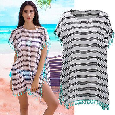 Rare Womens Swimsuit Tassels Drops Bikini Cover Tunic Tops Shirt Beachwear