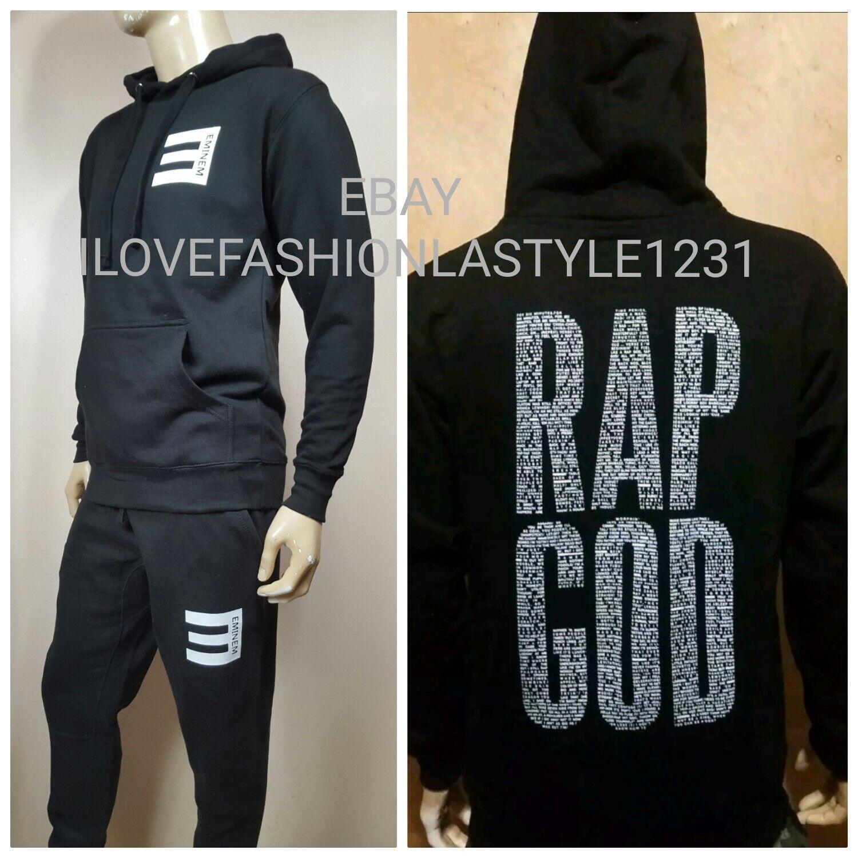 Eminem RAP GOD Pullover Hoodie And Sweat Pants Set  Slim Shady rap god Gym Suit