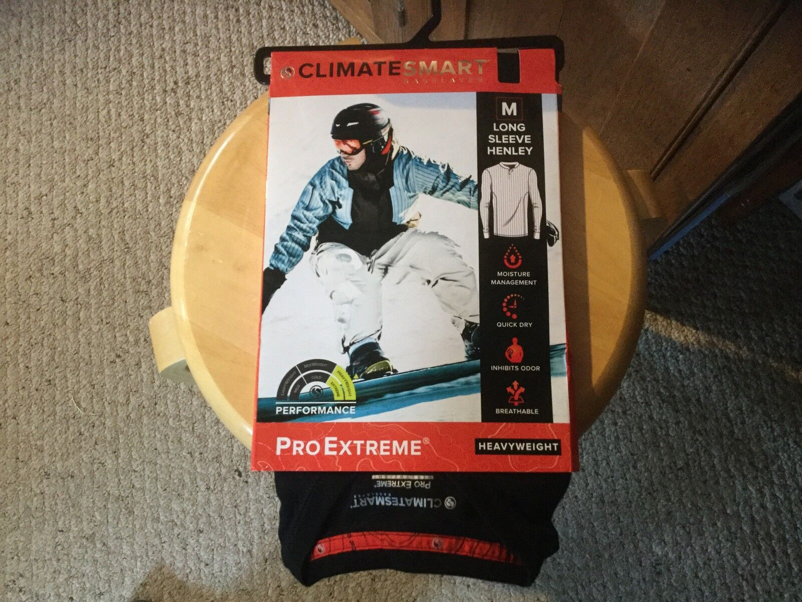 New Mens ClimateSmart Pro Extreme Heavyweight Baselayer.  Long Sleve Henley. Med