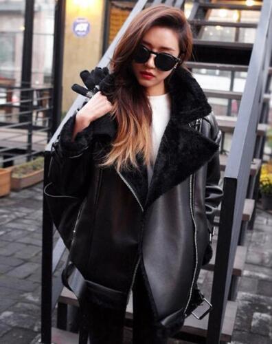Motorcycle Coat Pu Outwear Lynlås Slim Læder Short Kvinder Blazer Buckle Fur Fit qxR8WaO