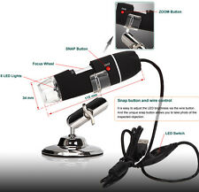 2MP 40-800X USB 8-LED Digital Microscope Endoscope Video Camera Magnifier+Driver