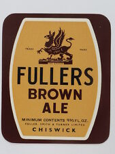 Unused 1950s-60s Fullers Brown Ale 9oz Tavern Trove Chiswick England