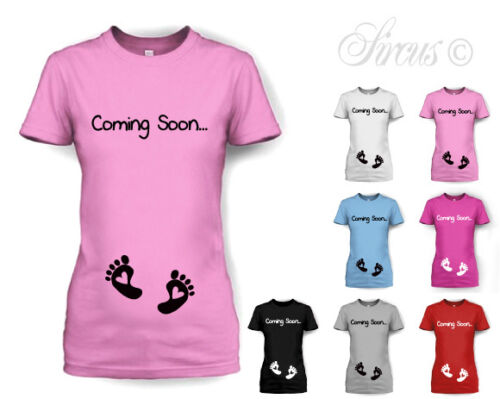 623c893dad5e3 COMING SOON BABY FEET MATERNITY T-SHIRT PREGNANCY TOP ALL SIZES | eBay
