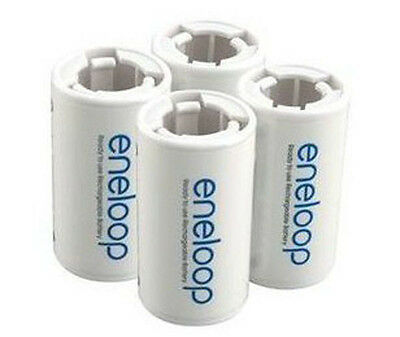 4pcs x Sanyo Eneloop Battery Adaptor Converter AA R6 to C R14 C-Size holder US88