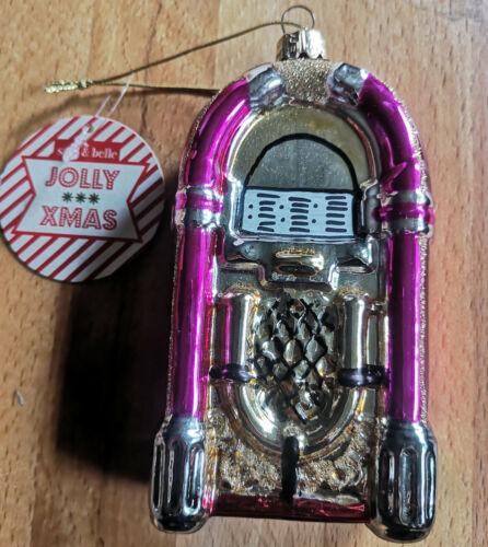 Jukebox Glas Retro Baumschmuck Deko Christbaumkugel Groß Pink Musikbox Gold