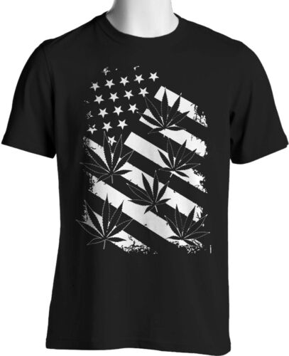 Marijuana Weed T Shirt American Pot Flag Smoking Mens Sizes Small to 6XL Tall