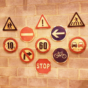 Vintage Industrial Metal Road Traffic Warning Safety Wall Signs