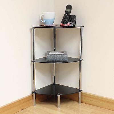 Hartleys 3 Tier Black Glass Corner Side/End Table Shelf/Display Unit Lounge/Hall