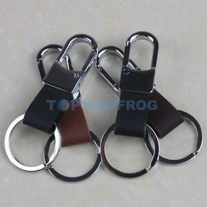 Fashion-Men-039-s-Leather-Strap-Keyring-Keychain-Key-Chain-Ring-Keyfob-Clip-Holder