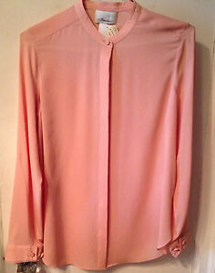 375-3-1-PHILLIP-LIM-JUDO-BLOUSE-SZ-4-SM-OS-FIT-PEACH-PINK-SILK-DRESS-SHIRT