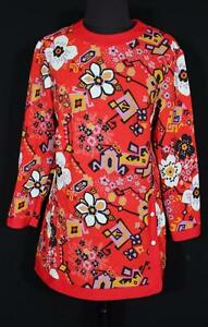 RARE-VINTAGE-FRENCH-1970-039-S-RED-FLORAL-POLY-PRINT-BLOUSE-SIZE-LARGE