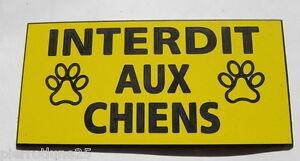 Plaque Gravée Interdit Aux Chiens Format 48 X 100 Mm Finition Biseautée Les Clients D'Abord