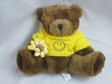 PROFLOWERS BROWN TEDDY BEAR HOLDING FLOWER YELLOW HAPPY FACE KNIT SWEATER PLUSH